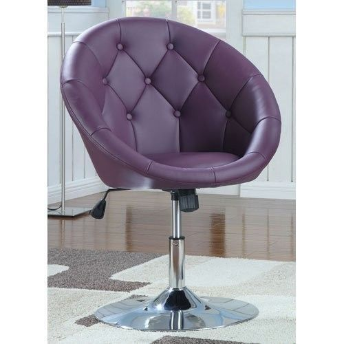 Round-Back-Swivel-Chair-Purple-Home-Office-Furniture-Bar-Stool-Sitting-Room-New