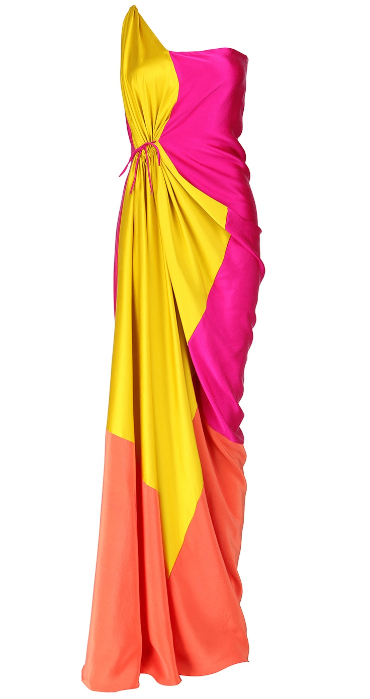 JAMES FERREIRA Color block drawstring gown