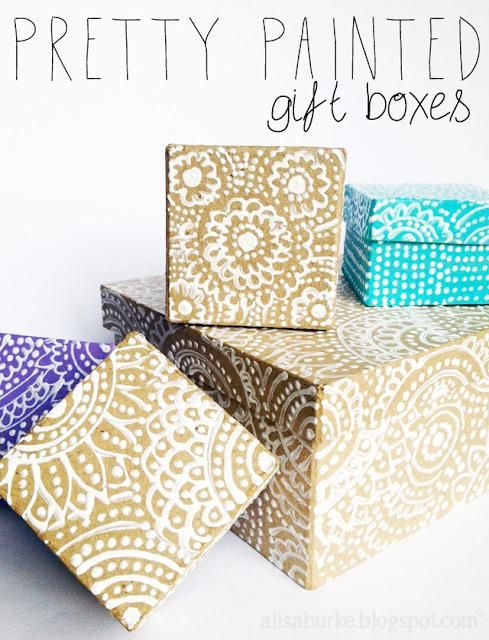Pretty Painted Gift Boxes: Paintings Gifts, Gifts Ideas, Diy Crafts, Puffy Paintings, Paintings Boxes, Ilovetocr Blog, Pretty Paintings, Gifts Wraps, Gifts Boxes