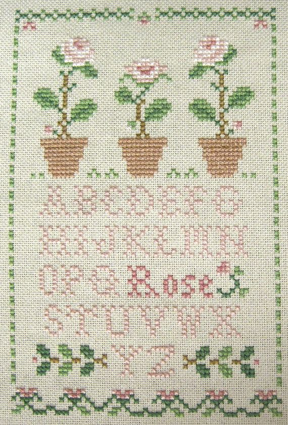 Completed Sampler Cross Stitch Picture - Little House Needleworks.