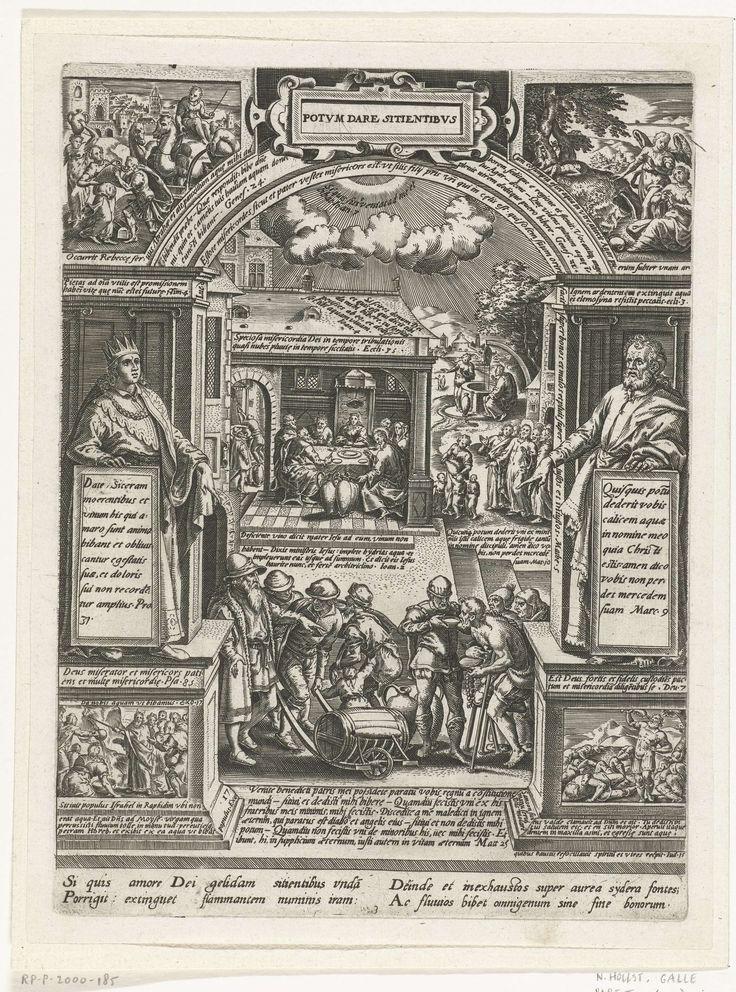 Philips Galle | Het laven van de dorstigen, Philips Galle, Anonymous, 1577 | Het laven van de dorstigen als tweede van de zeven werken van barmhartigheid. De voorstelling is gevat in een architecturale omlijsting met boog. Hierboven, in cartouche, de titel. In het midden op de achtergrond de bruiloft te Kana, en Christus en de Samaritaanse vrouw bij de bron; op de voorgrond krijgen dorstige mensen te drinken. Een man vervoert een wijnvat op een houten karretje. In de vier uiterste hoeken…