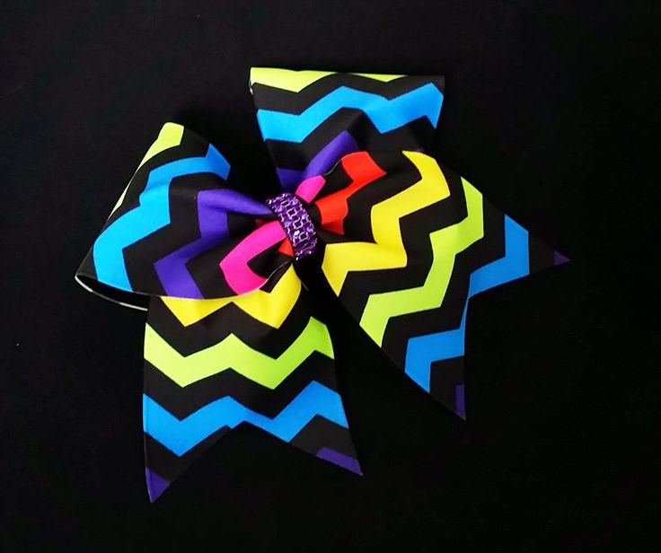 Cheer bow, Chevron cheer bow, rainbow cheer bow, cheerleader bow, cheerleading bow, cheerbow, softball bow, dance bow, pop warner cheer, bow by MadeForMeCheerBows on Etsy https://www.etsy.com/listing/259548228/cheer-bow-chevron-cheer-bow-rainbow