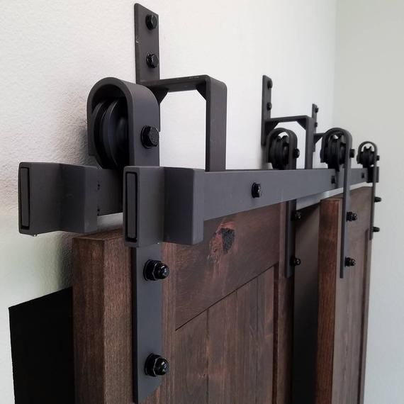 4 8 2ft Black Steel Bypass Barn Door Hardware One Piece Wall Etsy Bypass Barn Door Barn Door Handles Barn Door