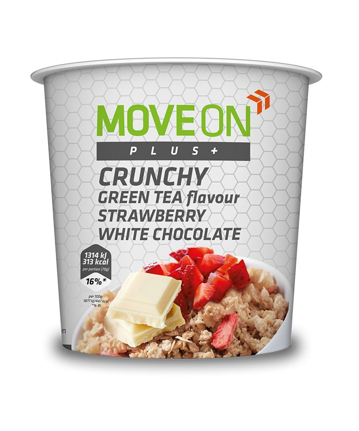 Musli o smaku zielonej herbaty z truskawką i białą czekoladą 70g. | Crunchy source of dietary fiber - strawberry, white chocolate and green tea flavour. #moveon #moveonpl #moveonsport #sport #healthy #food #diet #fiber #oat #crunchy #musli #greentea #strawberry #nutrition #athlete