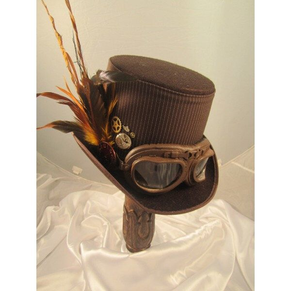 STEAMPUNK TOP HATS, Steampunk Store, brown, felt, aviator  goggles, clock parts, feathers by EmilyWayHats on Etsy https://www.etsy.com/au/listing/242207869/steampunk-top-hats-steampunk-store-brown