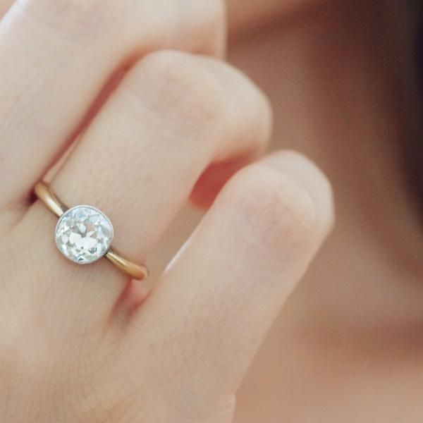 Antique Bezel Set Old Mine Cut Diamond Ring