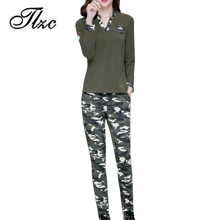 TLZC Women Casual Suit  Plus Size M-4XL Lady Clothing Set Hoodies + Camouflage Sweatpants Print Pattern Lady Suit V-Neck Sets