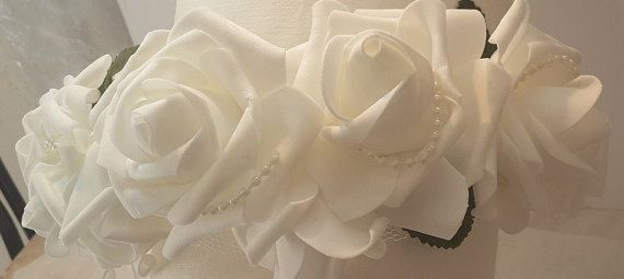 HOLIDAY SALE Bridal White Rose Crown white wedding Bridal White Rose Crown, white wedding crown, flower crown, bridesmaid Crown, flower girl crown, bridal shower gift by GalitDesigns