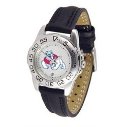 Fresno State University Bulldogs Women's Leather Band Athletic Watch