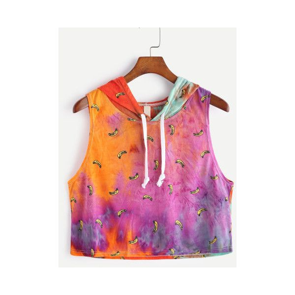 SheIn(sheinside) Tie Dye Bananas Print Hooded Crop Tank Top ($8) ❤ liked on Polyvore featuring tops, multi color, cami top, tie dye tank, cami crop top, cami tank tops and colorful tank tops