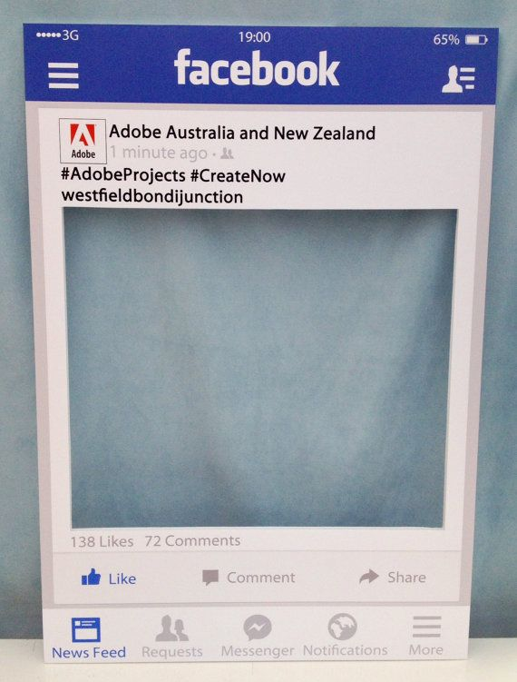 Large Medium Personalised Facebook Photo Booth Prop Frame
