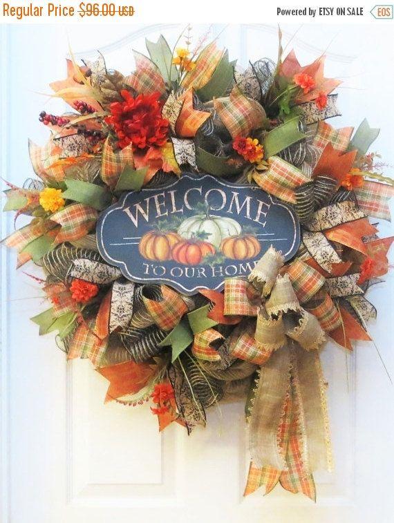 on sale fall wreath deco mesh fall wreath fall mesh wreath fall welcome - Fall Decorations For Sale