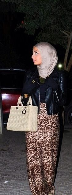 Hijab .... maxi leopard skirt. I  still on the fence whether or not it would look good on me but I want to make the skiry