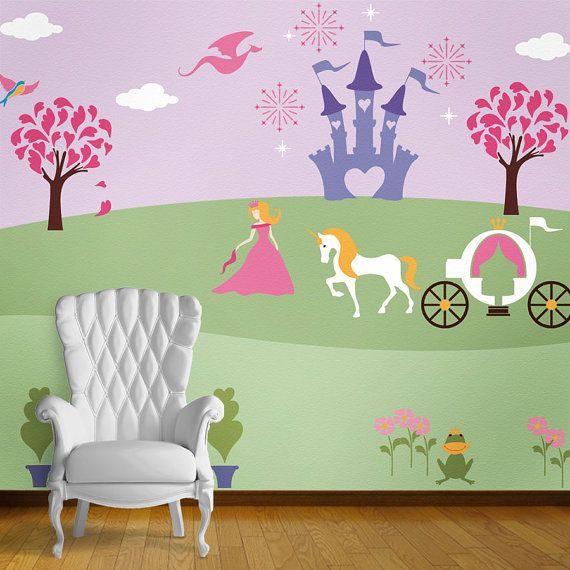 Princess wall mural stencil kit for baby girls room for Baby mural ideas