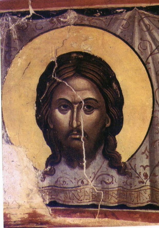 СПАС НЕРУКОТВОРНЫЙ Фреска собора моныстыря Ставроникита Афон 1546 г.