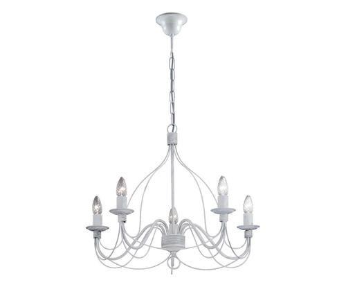 #Lampadario a 5 luci in metallo dipinto mano colore Bianco antico ad Euro 159.00 in #Crido consulting srl #Lampsluminaires lampsluminaires