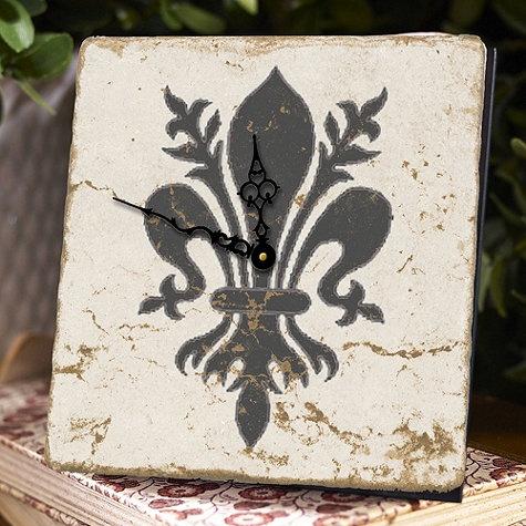 Fleur De Lis Table Clock