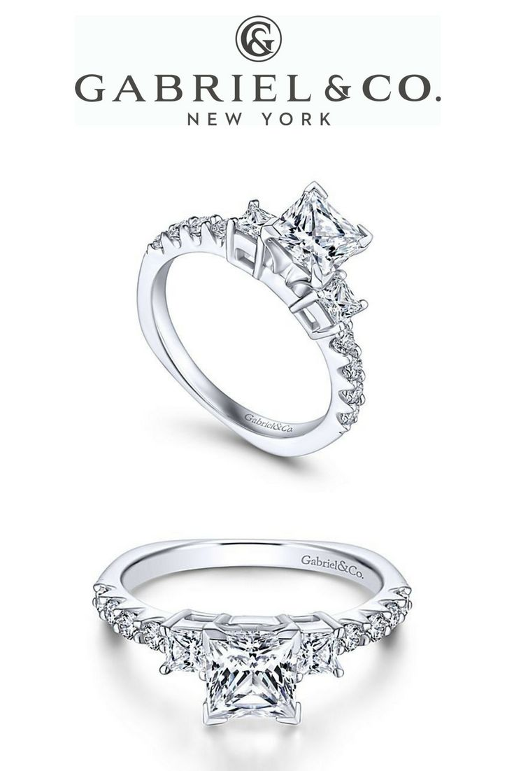 2b1024f71 14k White Gold Princess Cut 3 Stones Diamond ENGAGEMENT RING In this  effortlessly stunning ring, elegant prong settings beautify the three stone  centerpiece ...