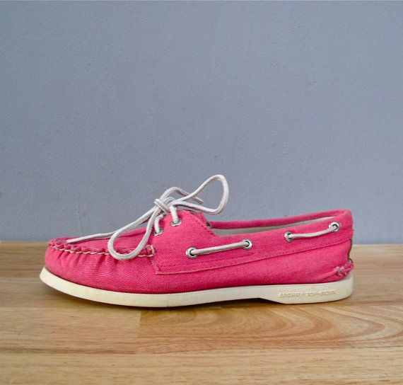 vintage HOT PINK sperry top siders 7 by secretlake on Etsy, $48.00