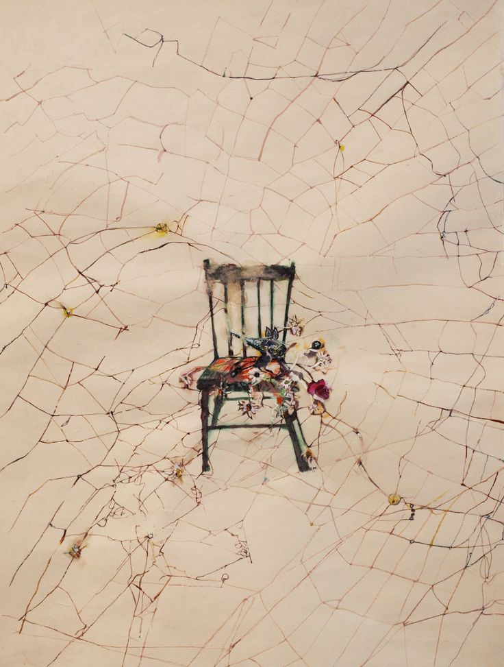 Spiderchair, Original artwork by Vanessa Anastasopoulou, Mixed media on paper, Size: 27x44cm