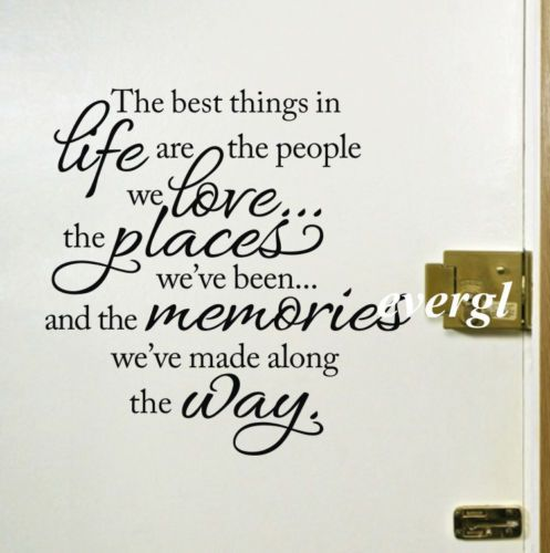 The Best Things in Life Quote Vinyl Wall Decal Inspirational Love Memories   eBay