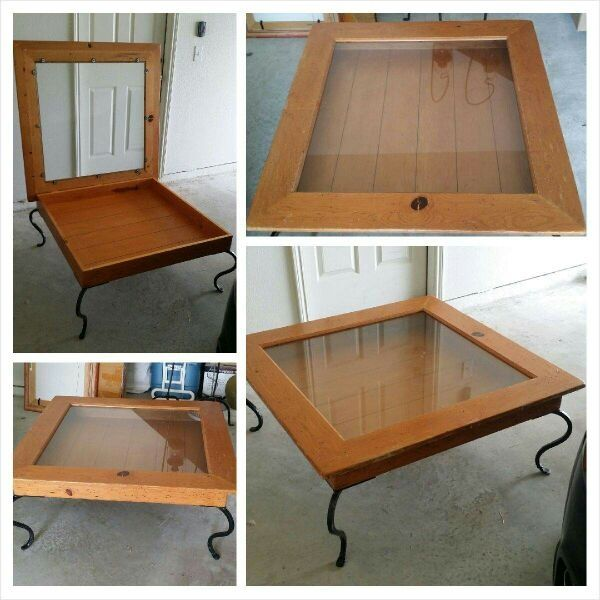 Shadow box coffee table distressed with black wrought iron legs asking 125 00 used
