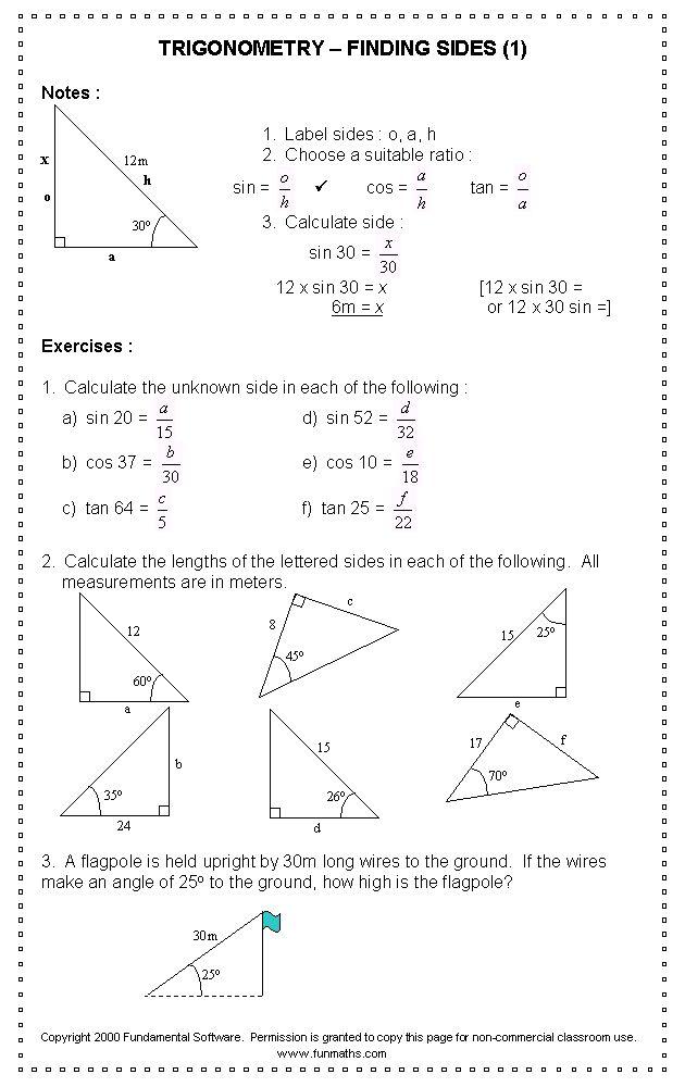Free high school math worksheet from Funmaths.com | Learning ...