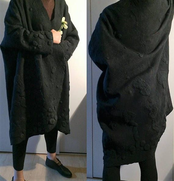 Women coat, wearable art, nuno felted coat, designer coat, Hand made, felted jacket, eco-fashion, wool Coat , warm coat, black coat, clothing This item is MADE TO ORDER. Do you like it? You can always get a similar thing of different colors taking part in creating your own coat. Lets