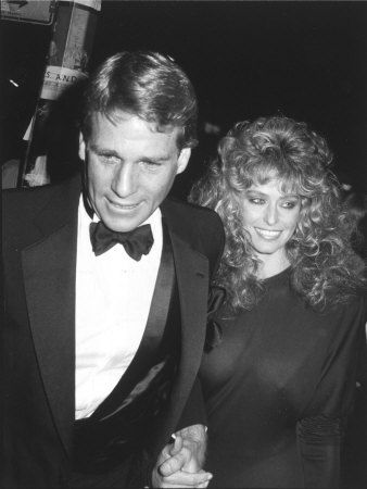 Ryan O'Neal and Farraw Fawcett at Studio 54 for Faberge