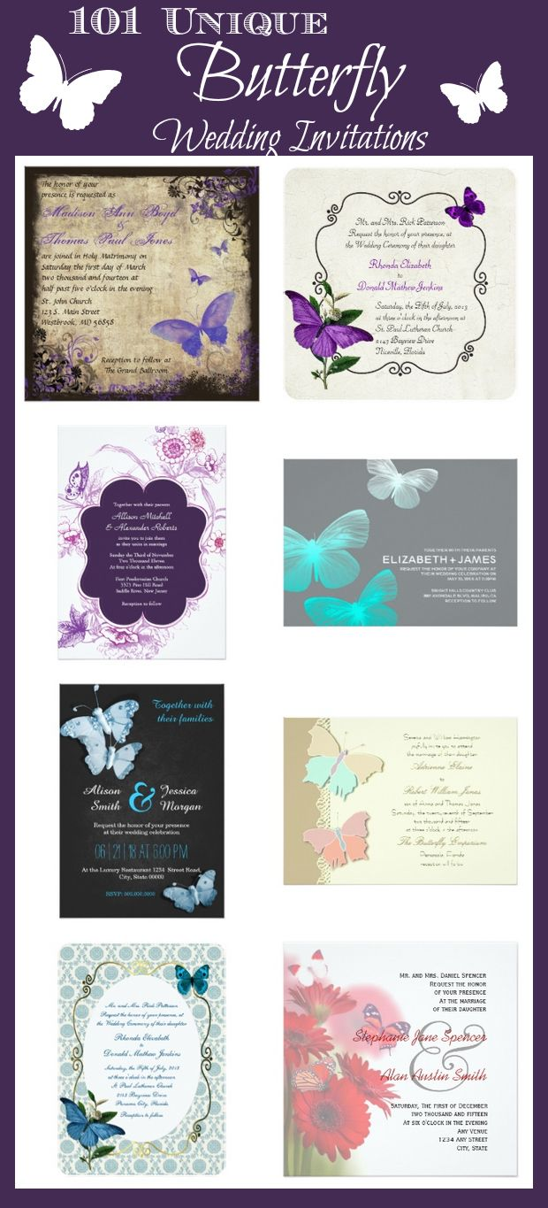 101 Unique Butterfly Wedding Invitations for the perfect butterfly wedding theme.  These personalized butterfly wedding invites are easy to customize templates, ready for you to add your own wedding invitation wording.  Two Sided Designs.  #butterflywedding