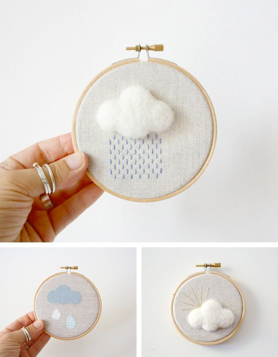 Small #cloud hoop art for a baby's room or for #baby shower gifts. Of course, I'd take a few of these and hang them in my bathroom as a trio or on that blank spot in my office upstairs.
