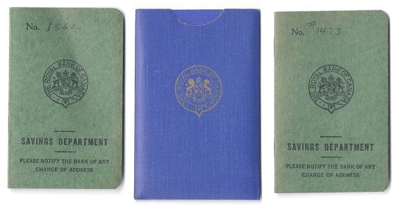 3 Vintage Bank Books Record book Royal Bank of Canada by MagpieSue, $5.00