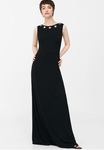 Eyelets Neckline Dress from Mango in black_1