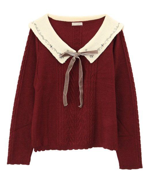 アクシーズファム 公式通販では トップス「【3点20%OFF】刺繍入りセーラー襟ニットプルオーバー」を価格¥4,212円で販売中。ショップ店員によるコーディネート提案も。