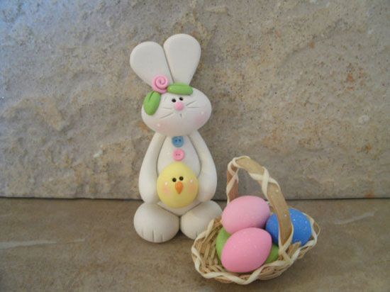 Bunny, Chick & Basket of Eggs Polymer Clay