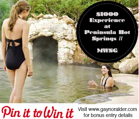Want to be one of the five lucky ladies to enjoy the ultimate pampering experience at Peninsula Hot Springs? Repin this image for a bonus entry! http://gaynoralder.com/2012/12/19/giveaway-1000-pampering-experience-at-peninsula-hot-springs/