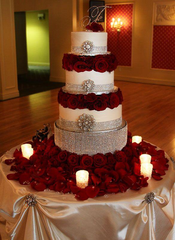 Diamond encrusted wedding cake - GORGEOUS!