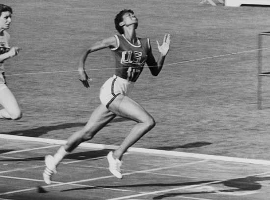 "Wilma Rudolph wins the women's 100-meter dash in the 1960 Olympics in Rome. Looking at her graceful, almost carefree stride in this photo, it's easy to see why the Italian sports press called her ""La Gazzella"" - the Gazelle."