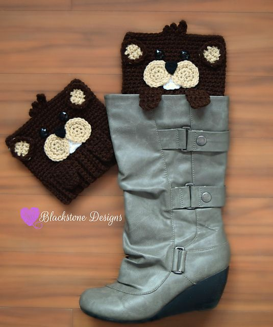 Peeping Groundhog Boot Cuffs crochet pattern from Blackstone Designs