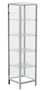 Βιτρίνα πύργος  - Σκελετός αλουμινίου Alushop σε καμπύλη ή καρέ γραμμή.  - Βιτρίνα κλειστή με ανοιγόμενη πόρτα.  - Διαστάσεις: 48x48x182cm.  - 4 γυάλινα ενδιάμεσα ράφια ρυθμιζόμενου ύψους.  - Ο σκελετός είναι χρώματος inox mat μεταλλικής βαφής (Β50) και τα ξύλινα μέρη χρώματος επιλογής από Λευκό (R10), Ασημί τιτάνιο (R52), Σφένδαμο (R93) ή Σημύδα (R92).  - Κλειδαριά extra. Προσθέστε κωδ. F-1005 από την λίστα προϊόντων.  - Ρόδες extra (από τις 4 οι 2 με φρένο)