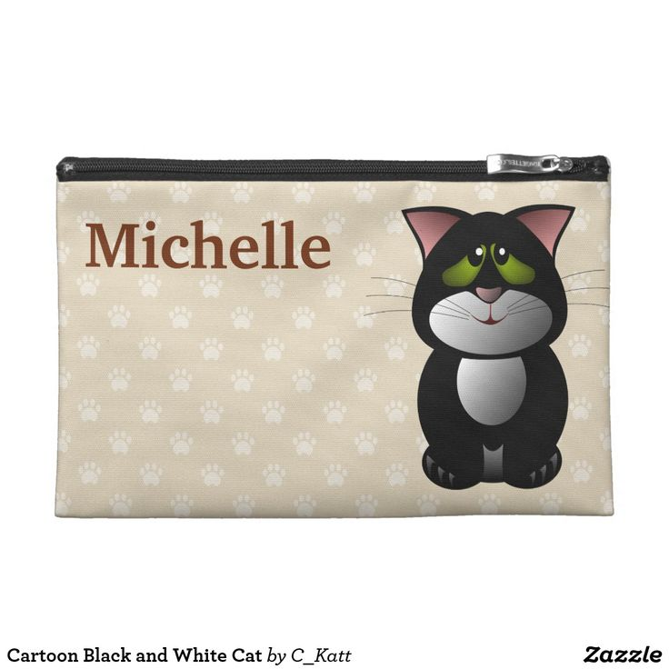 Cartoon Black and White Cat Travel Accessory Bag. Cute cartoon black and white cat with green eyes. A text template to the left to add your name. #ad