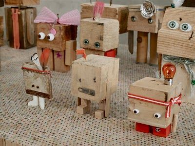 Wooden block men.