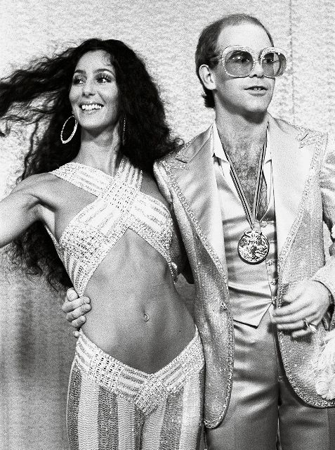 "soundsof71: "" Elton John & Cher at the Rock Music Awards, August 9, 1975, by Ulvis Alberts """