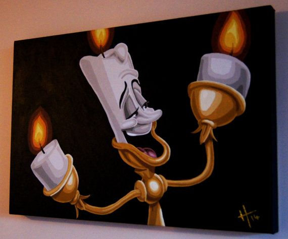 Disney's Beauty and the Beast Lumiere the candlestick Acrylic Painting on Box Canvas by GatsbyandJim