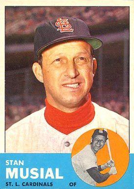 stan musial baseball cards   1963 Topps Stan Musial #250 Baseball Card Value Price Guide