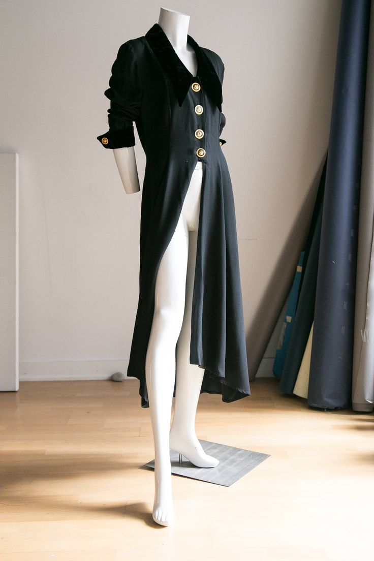 90s Black Coat | 90s Grunge Coat | Versace Coat | Black Versace Coat | Evening Coat | High Low Coat  | Long 90s  Coat | Hipster Coat by HUNTOPIA on Etsy