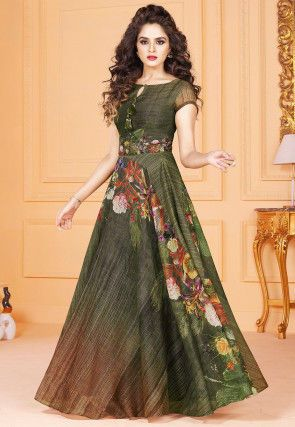 bcc2a6729a Digital Printed Art Silk Gown in Dark Olive Green | gown | Party ...