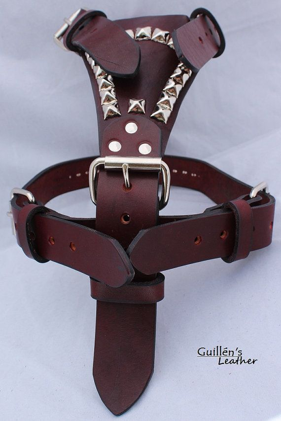 Burgundy Large Leather Dog Harness with Pyramids on Etsy, $54.35 AUD