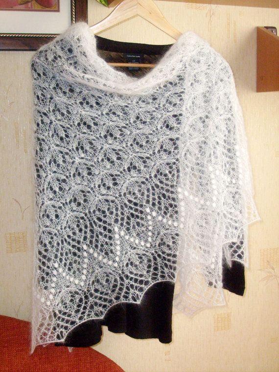 Hand knitted lace kid mohair shawl wrap ecru | skaros ...