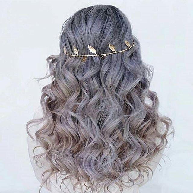 Grey/Silver | Beach waves | Gold Leaf Head Piece #hair